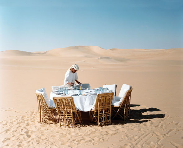 Setting up for lunch on the dunes.